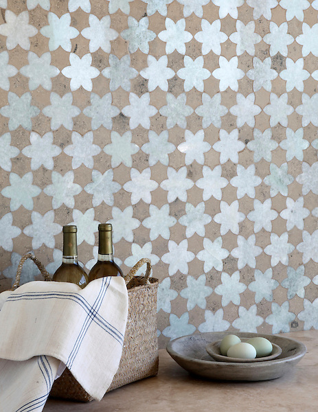 Cadiz, a waterjet mosaic shown in polished Ming Green and honed Jura Grey, is part of the Miraflores collection by Paul Schatz for New Ravenna.<br />