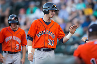 Kyle Tucker (30) of the Buies Creek Astros smiles as he returns to the dugout after hitting a 3-run home run against the Winston-Salem Dash at BB&T Ballpark on April 15, 2017 in Winston-Salem, North Carolina.  The Astros defeated the Dash 13-6.  (Brian Westerholt/Four Seam Images)