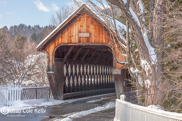 Fresh snow on the Middle Bridge in Woodstock, VT, USA
