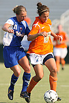 03 July 2008: Carolina's Casey Nogueira (27) is challenged by Charlotte's Ashleigh Gunning (11). The Charlotte Lady Eagles defeated the Carolina Railhawks Women 3-0 at WakeMed Stadium in Cary, NC in a 2008 United Soccer League W-League regular season game.