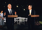 United States President George H.W. Bush holds a joint press conference with Chancellor Helmut Kohl of West Germany at the White House in Washington, DC on June 8, 1990.<br /> Credit: Ron Sachs / CNP