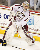 Brian Billett (BC - 1) - The visiting Merrimack College Warriors tied the Boston College Eagles at 2 on Sunday, January 8, 2011, at Kelley Rink/Conte Forum in Chestnut Hill, Massachusetts.