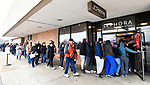 Shoppers enter the JC Penney's store at the St. Clair Square mall at 2 pm. Hundreds had waited in a line that wrapped around the outside of the building. Shoppers looking for bargains and discounted items endured a light but steady rain on Thanksgiving Day as they waited for stores to open in Fairview Heights, IL on November 28, 2019.<br />  Photo by Tim Vizer