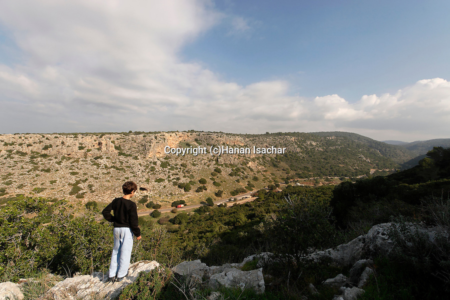 Israel, Carmel. Wadi Oren and road 721 as seen from Etzba cave