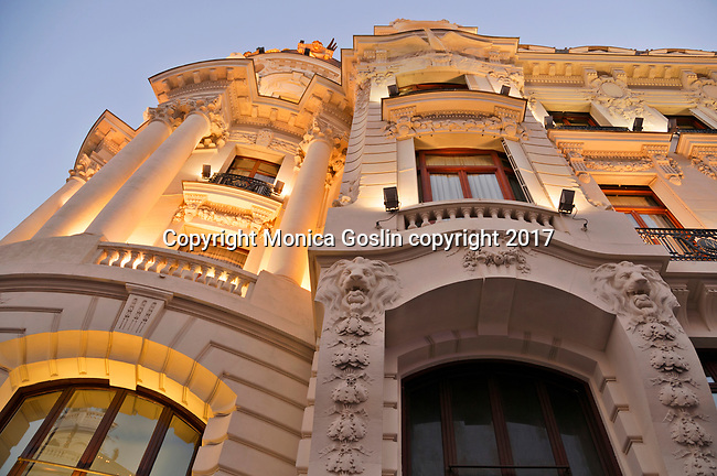 Facade of The Grassy Clock and Watch Museum on the Gran Via, a major shopping street in the historical downtown district in Madrid, Spain