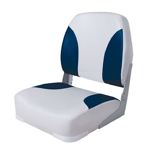 A low back fold down boat seat