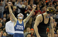 NEW YORK, NY - MARCH 19: Nico Megaludis of the Penn State Nittany Lions celebrates after defeating Thomas Gilman of the Iowa Hawkeyes during the finals of the NCAA Wrestling Championships on March 19, 2016 at Madison Square Garden in New York, New York. (Photo by Hunter Martin/Getty Images) *** Local Caption *** Thomas Gilman;Nico Megaludis