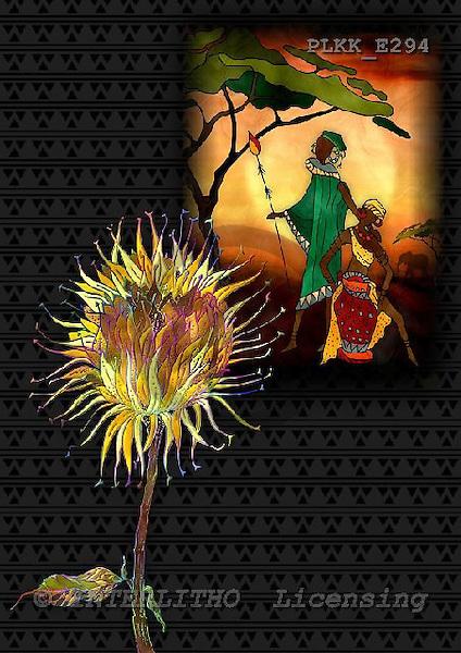 Kris, ETHNIC, paintings,+savanna, flowers++++,PLKKE294,#ethnic# étnico, illustrations, pinturas