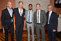 New York City, NY - MAY 23: (L-R) Grant Wahl, Correspondent-at-Large, Alexi Lalas, Studio Analyst, Aaron West, FIFA WWC NOW Host, Rob Stone, Lead Studio Analyst and JP Dellacamera, Lead WWC Paly-by-Play Announcer attend the Fox Sports FIFA Women's World Cup Send-off at the Consulate General of France in New York City. (Photo by Anthony Behar/Fox Sports/PictureGroup)