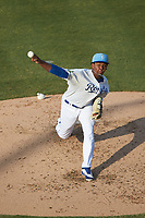 Burlington Royals starting pitcher Elvis Luciano (32) in action against the Johnson City Cardinals at Burlington Athletic Stadium on July 15, 2018 in Burlington, North Carolina. The Cardinals defeated the Royals 7-6.  (Brian Westerholt/Four Seam Images)