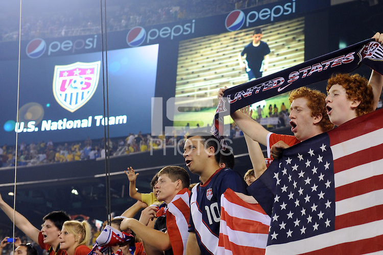 Fans. The men's national team of Brazil (BRA) defeated the United States (USA) 2-0 during an international friendly at the New Meadowlands Stadium in East Rutherford, NJ, on August 10, 2010.
