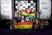 15th March 2020, WRC of Mexico final day after  final three stages, SS19 to SS21;  Podium showing Marco Bulacia Wilkinson and Giovanni Bernacchini were the winners in the WRC-3