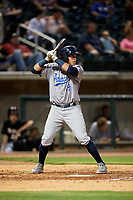 Pensacola Blue Wahoos shortstop Luis Gonzalez (19) at bat during a game against the Birmingham Barons on May 8, 2018 at Regions Field in Birmingham, Alabama.  Birmingham defeated Pensacola 5-2.  (Mike Janes/Four Seam Images)