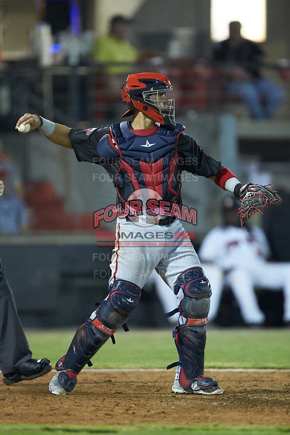 North Division catcher Tres Barrera (36) of the Potomac Nationals on defense during the 2018 Carolina League All-Star Classic at Five County Stadium on June 19, 2018 in Zebulon, North Carolina. The South All-Stars defeated the North All-Stars 7-6.  (Brian Westerholt/Four Seam Images)