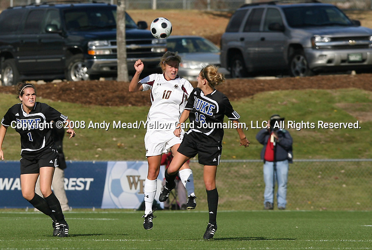 05 November 2008: Boston College's Kelly Henderson (10) and Duke's Elizabeth Redmond (16) challenge for a header. Boston College defeated Duke University 1-0 at Koka Booth Stadium at WakeMed Soccer Park in Cary, NC in a women's ACC tournament quarterfinal game.