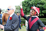 HOT SPRINGS, AR - APRIL 14: Jockey Ricardo Santana Jr. celebrating after winning the Count Fleet Sprint at Oaklawn Park on April 14, 2018 in Hot Springs, Arkansas. (Photo by Justin Manning/Eclipse Sportswire/Getty Images)