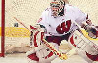 Badger goaltender Jessie Vetter at the Eagle's Nest in Verona Friday night as Wisconsin takes on North Dakota in the WCHA playoffs