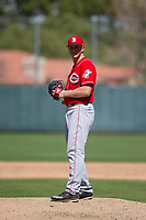 Cincinnati Reds pitcher Wyatt Strahan (31) prepares to deliver a pitch during an Instructional League game against the Oakland Athletics on September 29, 2017 at Lew Wolff Training Complex in Mesa, Arizona. (Zachary Lucy/Four Seam Images)