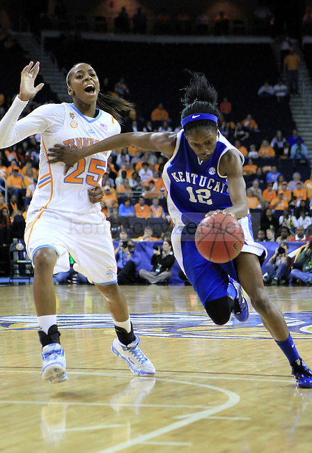 Sophomore guard/forward Lydia Watkins runs for the basket during the second half of the UK women's basketball game against Tennessee for the SEC tournament at the Gwinnett Center on Sunday, March 7, 2010. UK lost to Tennessee  70-62. Photo by Adam Wolffbrandt | Staff