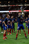 Atletico de Madrid's Antoine Griezmann (l) and Lucas Hernandez (r) celebrates the Super Cup Tittle after La Liga match. August 25, 2018. (ALTERPHOTOS/A. Perez Meca)