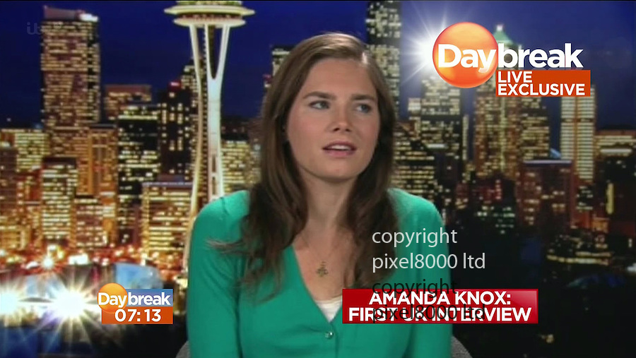 Pic shows: First UK Tv interview with Amanda Knox on Daybreak.<br /> Live TV interview with Lorraine Kelly<br /> <br /> <br /> Picture by ITV Daybreak/ supplied by Pixel8000 07917221968
