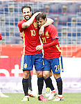 Spain's Cesc Fabregas (l) and David Jimenez Silva celebrate goal during friendly match. June 1,2016.(ALTERPHOTOS/Acero)
