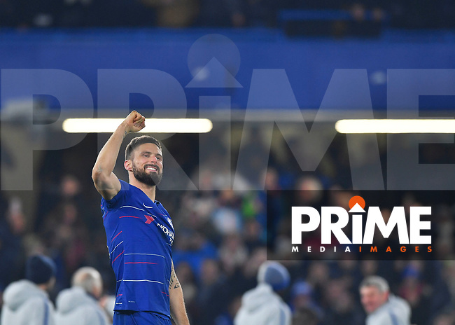 Olivier Giroud of Chelsea celebrates during the Carabao Cup Semi-Final 2nd leg match between Chelsea and Tottenham Hotspur at Stamford Bridge, London, England on 24 January 2019. Photo by Vince  Mignott / PRiME Media Images.