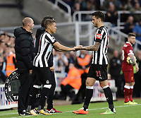 Newcastle United's Joselu is replaced by Dwight Gayle in the second half<br /> <br /> Photographer Rich Linley/CameraSport<br /> <br /> The Premier League -  Newcastle United v Liverpool - Sunday 1st October 2017 - St James' Park - Newcastle<br /> <br /> World Copyright &copy; 2017 CameraSport. All rights reserved. 43 Linden Ave. Countesthorpe. Leicester. England. LE8 5PG - Tel: +44 (0) 116 277 4147 - admin@camerasport.com - www.camerasport.com