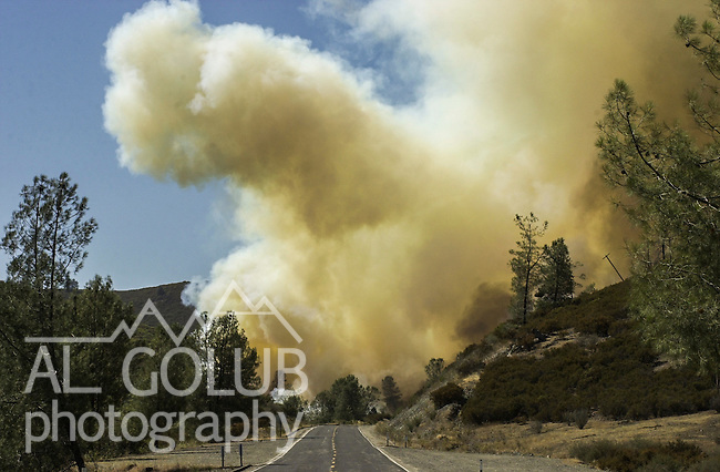 August 18, 2001 Coulterville, California  -- Creek Fire – View of Creek Fire from Highway 49.  The Creek Fire burned 11,500 acres between Highway 49 and Priest-Coulterville Road a few miles north of Coulterville, California.