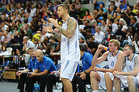 GB's Benjamin Mockford applauds the team during the EuroBasket 2015 2nd Qualifying Round Great Britain v Bosnia & Herzegovina (Euro Basket 2nd Qualifying Round) at Copper Box Arena in London. - 13/08/2014