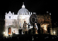 Spettacolo di luci con proiezione di foto e video sul tema della natura per sensibilizzare l'opinione pubblica sul cambiamento climatico sulla facciata della Basilica di San Pietro, Citta' del Vaticano, 8 dicembre 2015.<br /> Photo light show 'Fiat Lux' on the facade of St. Peter's Basilica at the Vatican, 8 December 2015.<br /> UPDATE IMAGES PRESS/Isabella Bonotto<br /> <br /> STRICTLY ONLY FOR EDITORIAL USE