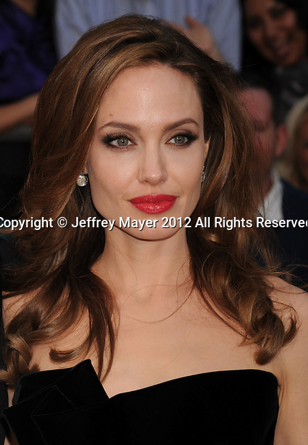 HOLLYWOOD, CA - FEBRUARY 26: Angelina Jolie arrives at the 84th Annual Academy Awards held at the Hollywood & Highland Center on February 26, 2012 in Hollywood, California.