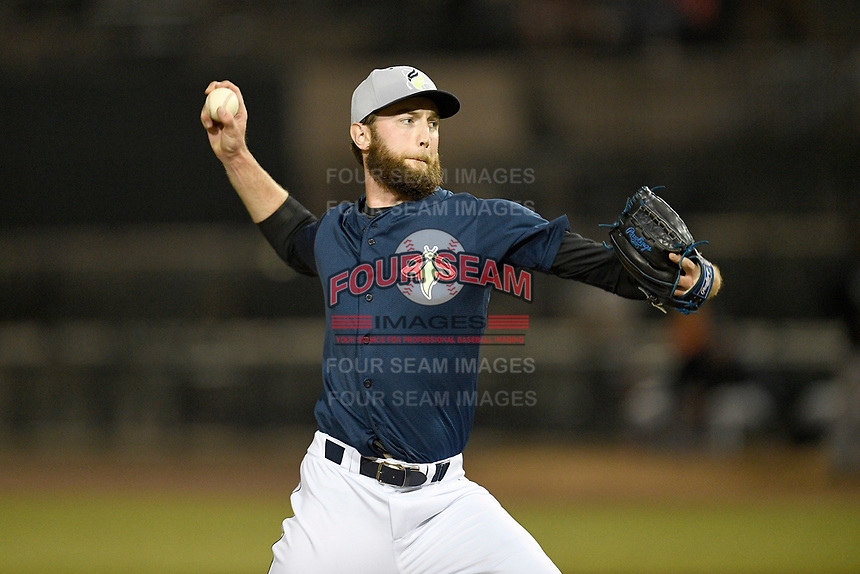 Pitcher Chris Vaill (29) of the Columbia Fireflies delivers a pitch in a game against the Charleston RiverDogs on Friday, April 5, 2019, at Segra Park in Columbia, South Carolina. Charleston won, 6-1. (Tom Priddy/Four Seam Images)