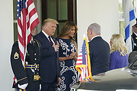 United States President Donald J. Trump and first lady Melania Trump welcomes Prime Minister Benjamin Netanyahu of Israel, and his wife Sara, to the White House in Washington, DC on Tuesday, September 15, 2020.  Netanyahu is in Washington to sign the Abraham Accords, a peace treaty with the United Arab Emirates and Bahrain.<br /> Credit: Chris Kleponis / Pool via CNP /MediaPunch
