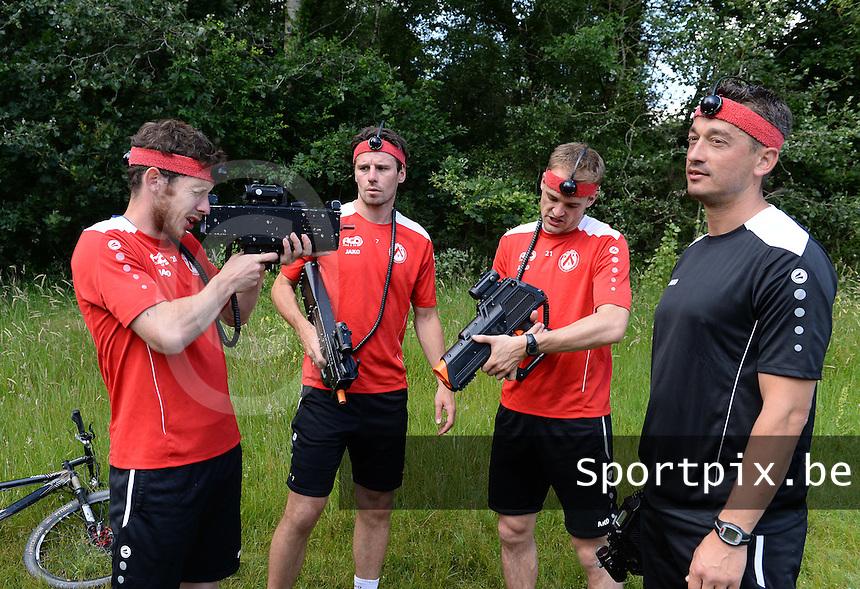 KV Kortrijk Stage Berck sur Mer : teambuilding met Thomas Matton (l) , Stijn De Smet , Brecht Capon en Adnan Custovic (r)<br /> foto VDB / BART VANDENBROUCKE