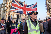 Pro Brexit protestors outside Parliament on the day the UK was scheduled to leave the EU, Westminster, London.