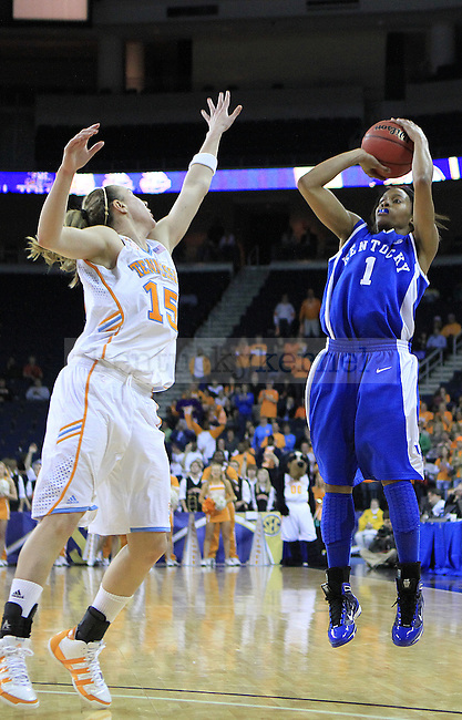 Freshman guard A'dia Mathies attempts a basket during the second half of the UK women's basketball game against Tennessee for the SEC tournament at the Gwinnett Center on Sunday, March 7, 2010. UK lost to Tennessee  70-62. Photo by Adam Wolffbrandt | Staff