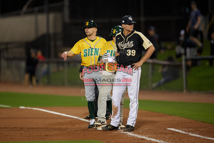Siena Saints Anthony Spataro (15) during a game against the UCF Knights on February 14, 2020 at John Euliano Park in Orlando, Florida.  UCF defeated Siena 2-1.  (Mike Janes/Four Seam Images)