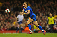 1st February 2020; Millennium Stadium, Cardiff, Glamorgan, Wales; International Rugby, Six Nations Rugby, Wales versus Italy; Tommaso Allan of Italy throw a long pass