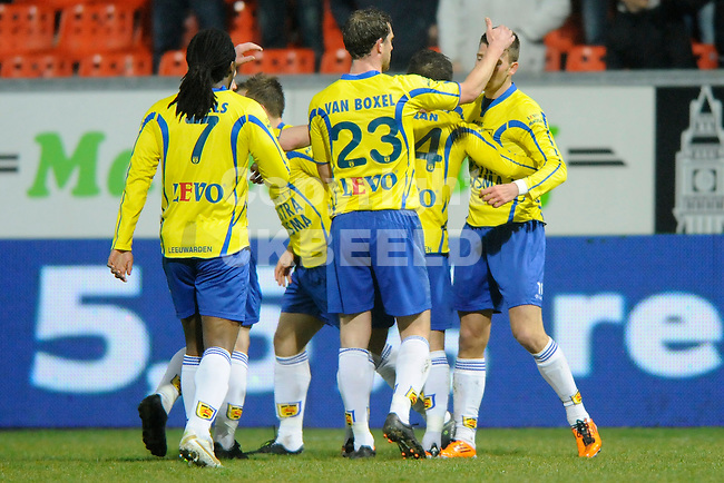 LEEUWARDEN - Voetbal, SC Cambuur - FC Volendam, Cambuur stadion, seizoen 2011-2012, 02-03-2012 Cambuur viert de 1-0