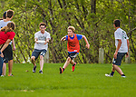 12 May 2015: The game winning point is scored as the Vermont Commons School Flying Turtles Ultimate Disk Team hosts Middlebury High School at Farrell Park in South Burlington, Vermont. Mandatory Credit: Ed Wolfstein Photo *** RAW (NEF) Image File Available ***