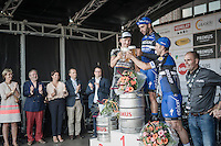 race winner Fernando Gaviria (COL/Etixx-QuickStep) toasting on the podium with Timothy Dupont (BEL/Verandas Willems) & Ariel Maximiliano Richeze (ARG/Etixx-QuickStep)<br /> <br /> 2016 Primus Classic Impanis - Van Petegem (1.HC)<br /> Belgium: Brakel › Boortmeerbeek (200.4km)