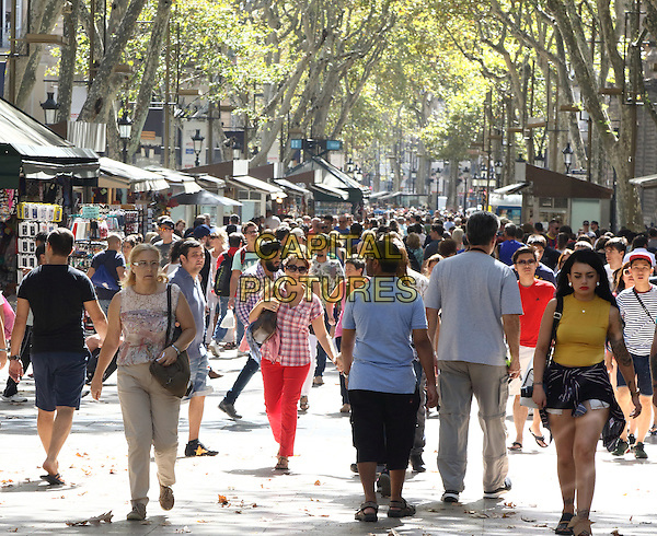 Famous La Rambla shopping street in Barcelona, Spain, on Wednesday September 16th 2015<br /> CAP/ROS<br /> &copy;ROS/Capital Pictures
