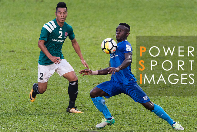 SC Kitchee Forward Alexander Akande (R) in action against Chi Ho lee of Long Lions (L) during the Community Cup match between Kitchee and Eastern Long Lions at Mong Kok Stadium on September 23, 2017 in Hong Kong, China. Photo by Marcio Rodrigo Machado / Power Sport Images