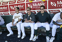 OAKLAND, CA - JULY 12:  Eric Chavez, Adam Piatt and Barry Zito at the Network Assoc. Colisieum on July 12, 2003 in Oakland, Calif. The Athletics played the Balitmore Orioles . ..(Photo by Michael Zagaris/MLB Photos)