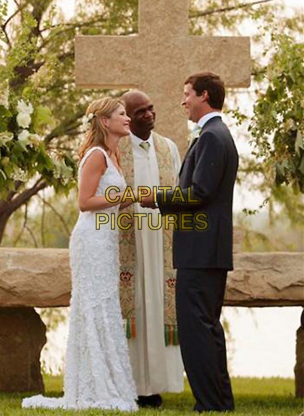 JENNA BUSH & HENRY HAGER.The President of the United States poses with his family prior to his daughter Jenna's wedding to Henry Hager, held at Prairie Chapel Ranch, Crawford, Texas, USA,10 May 2008..Full length black suit white lace wedding dress gown marriage bride groom vicar holding hands.CAP/ADM.©Shealah Craighead/White House/AdMedia/Capital PIctures