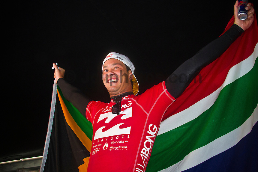 JEFFREYS BAY, South Africa (Sunday, July 24, 2011) - The final day of the Billabong Pro Jeffreys Bay, Event No. 4 of 11 on the 2011 ASP World Title season, was  called ON this morning with the Quarterfinals commencing at 7:30am. .After navigating a period of tricky swell, event organisers were greeted with howling onshore winds, driving rain and a six foot choppy swell. Despite the trying conditions Jordy Smith (ZAF) went back to back wins defeating Mick Fanning (AUS) in the 35 minute final..  Photo: joliphotos.com