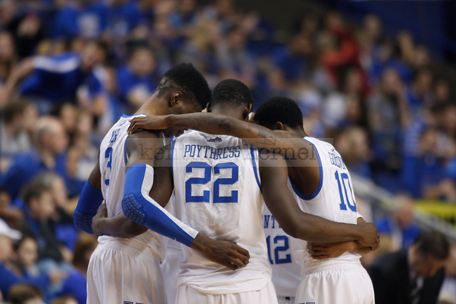 Nerlens Noel, Alex Poythress and Archie Goodwin huddle up before a the play resumes during the Men's University of Kentucky basketball game against Texas A&M at Rupp Arena on January 12th, 2013. Photo by Kirsten Holliday | Staff