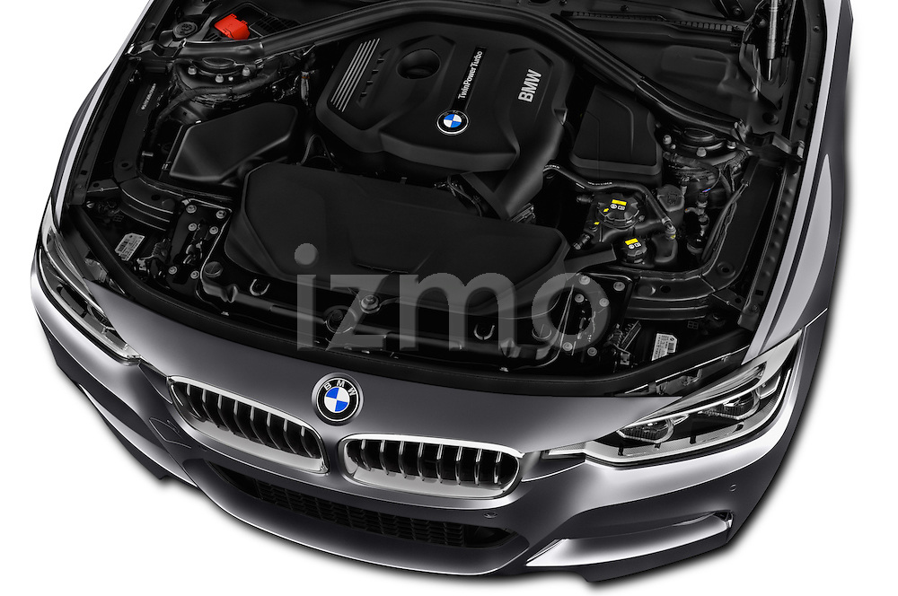 Car Stock 2016 BMW 3 Series M Sport 5 Door Wagon Engine  high angle detail view