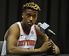 Frank Ntilikina of the New York Knicks fields questions during the team's Media Day held at Madison Square Garden Training Center in Greenburgh, NY on Monday, Sept. 24, 2018.